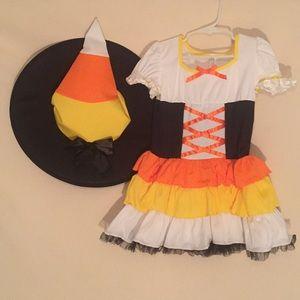 Child candy corn witch costume